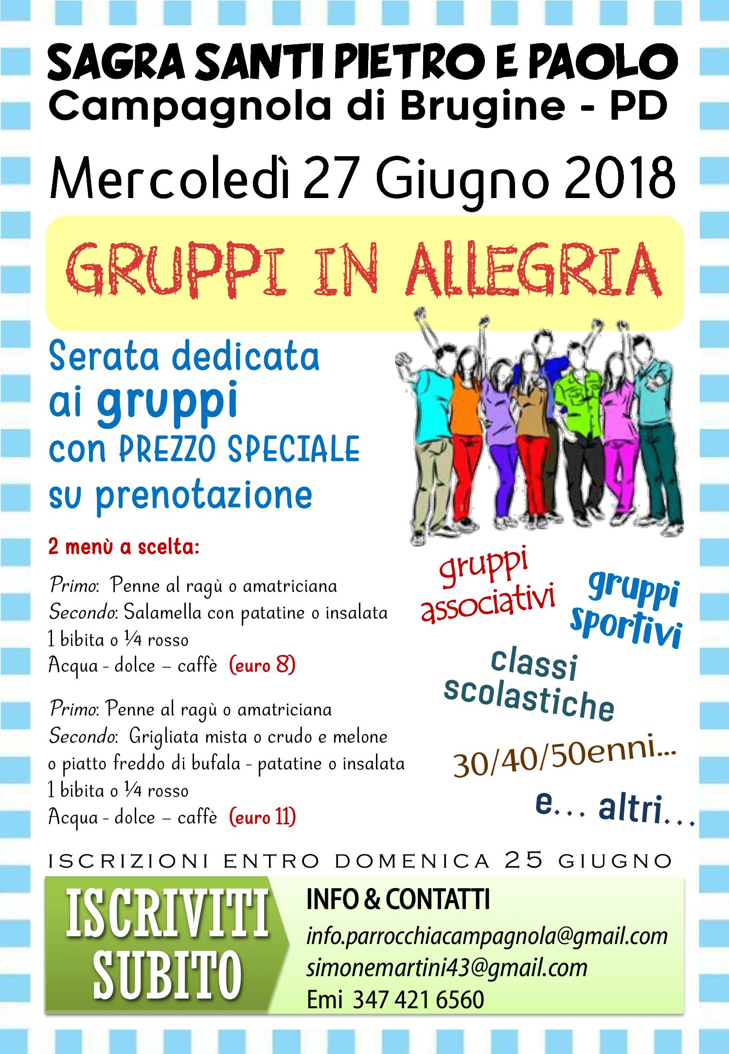 serata gruppi in allegria 2018